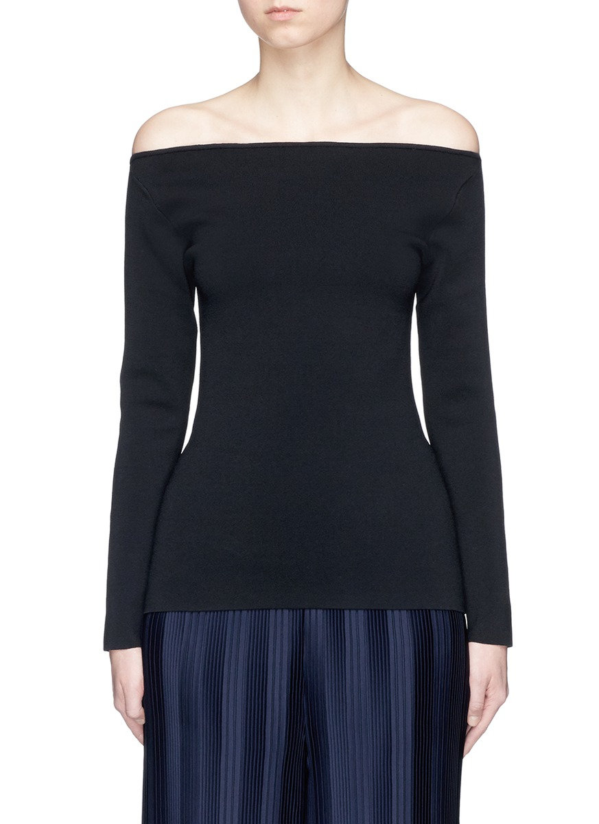 Suspended cutout back off-shoulder knit top by Dion Lee