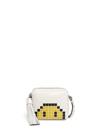 Main View - Click To Enlarge - Anya Hindmarch - 'Pixel Smiley' embossed leather crossbody bag