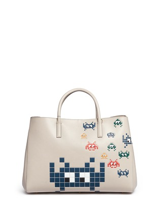 Main View - Click To Enlarge - Anya Hindmarch - 'Space Invaders Maxi Featherweight Ebury' leather tote