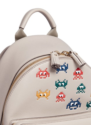 Detail View - Click To Enlarge - Anya Hindmarch - 'Space Invaders Mini' embossed leather backpack