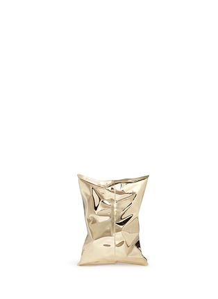 Back View - Click To Enlarge - Anya Hindmarch - 'Crisp Packet II' brass chain clutch