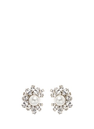 Main View - Click To Enlarge - Kenneth Jay Lane - Glass crystal pearl flower clip earrings