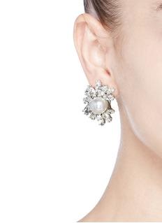 Kenneth Jay LaneGlass crystal pearl flower clip earrings
