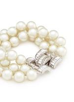 Crystal clasp multi strand glass pearl bracelet