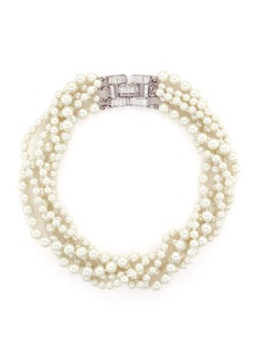 Kenneth Jay Lane Crystal clasp multi strand glass pearl necklace