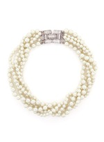 Crystal clasp multi strand glass pearl necklace