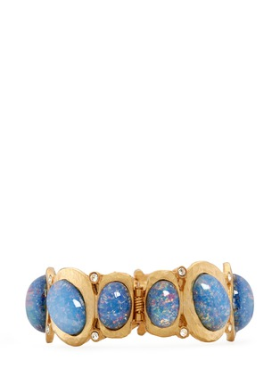 Kenneth Jay Lane - Opalescent glass cabochon hinge bangle