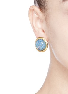 Kenneth Jay LaneOpalescent glass cabochon clip earrings