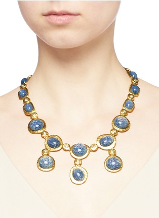 Kenneth Jay Lane-Opalescent glass cabochon necklace