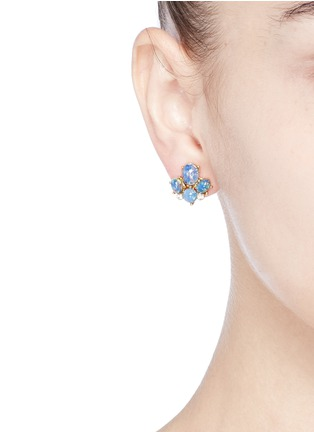 Figure View - Click To Enlarge - Kenneth Jay Lane - Opalescent glass cabochon stud earrings