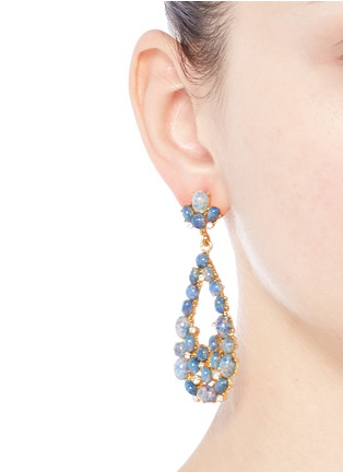 Figure View - Click To Enlarge - Kenneth Jay Lane - Opalescent glass cabochon cutout drop earrings