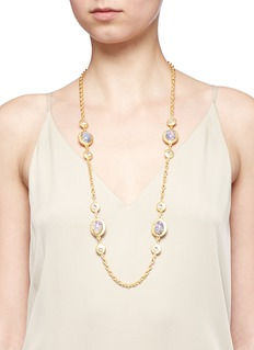 Kenneth Jay LaneOpalescent glass cabochon cable chain necklace
