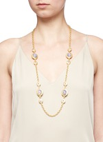 Opalescent glass cabochon cable chain necklace