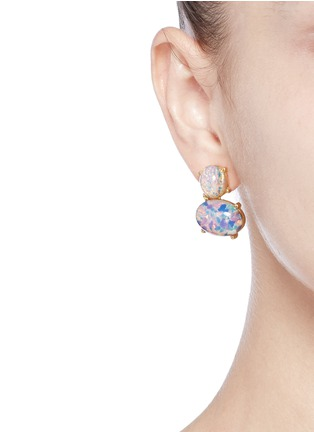 Figure View - Click To Enlarge - Kenneth Jay Lane - Opalescent glass cabochon drop earrings