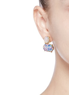 Kenneth Jay Lane Opalescent glass cabochon drop earrings