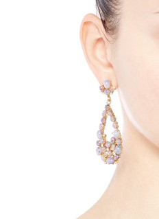 Kenneth Jay LaneOpalescent glass cabochon cutout drop earrings