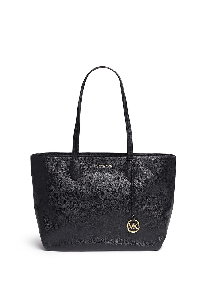 michael kors female 188971 ani large top zip pebbled leather tote
