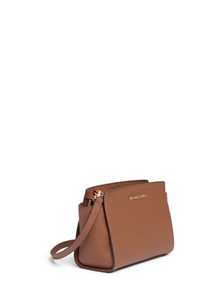 Front View - Click To Enlarge - Michael Kors - 'Selma' medium saffiano leather messenger bag