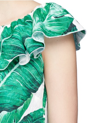 Detail View - Click To Enlarge - Dolce & Gabbana - Pineapple embellished banana leaf print brocade top