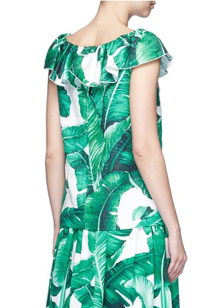 Back View - Click To Enlarge - Dolce & Gabbana - Pineapple embellished banana leaf print brocade top