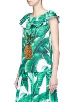 Pineapple embellished banana leaf print brocade top