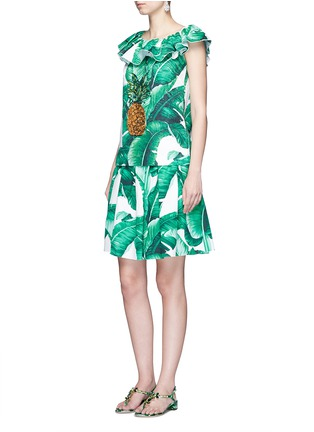 Figure View - Click To Enlarge - Dolce & Gabbana - Pineapple embellished banana leaf print brocade top