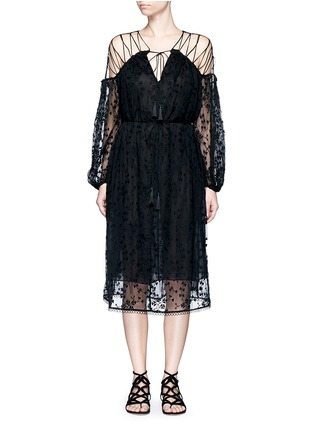 Main View - Click To Enlarge - Zimmermann - 'Eden' floral embroidery silk georgette midi dress
