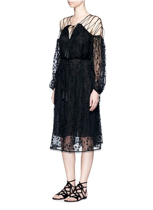 Figure View - Click To Enlarge - Zimmermann - 'Eden' floral embroidery silk georgette midi dress