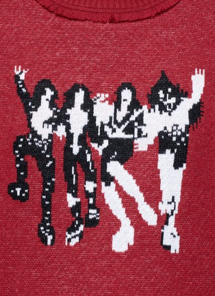 Detail View - Click To Enlarge - Ground Zero - Kiss CD Cover fringed neck intarsia sweater