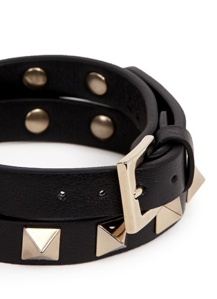 Valentino - 'Rockstud' double wrap leather bracelet