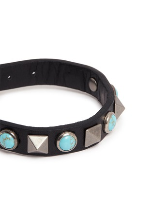 Detail View - Click To Enlarge - Valentino - 'Rockstud Rolling' cabochon stud leather bracelet