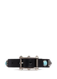 VALENTINO'Rockstud Rolling' cabochon stud leather bracelet