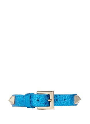 Figure View - Click To Enlarge - Valentino - 'Rockstud' skinny metallic leather bracelet