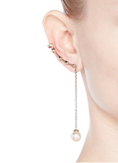 Valentino'Rockstud' glass pearl drop single climber earring