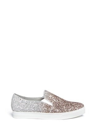 Main View - Click To Enlarge - Pedder Red - 'Daly' dégradé coarse glitter skate slip-ons
