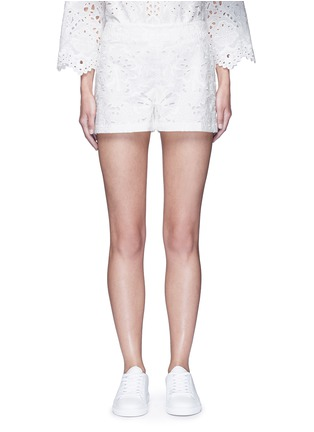 Main View - Click To Enlarge - Theory - ''Micro E' floral cutwork embroidery linen-cotton shorts