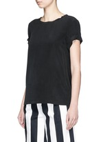 'Bakeeve' fold cuff silk georgette T-shirt