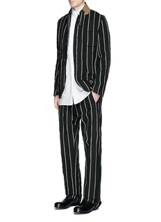 Uma Wang 'Vittorio' chalk stripe wool-linen wide leg pants