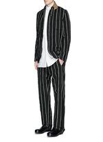 'Vittorio' chalk stripe wool-linen wide leg pants
