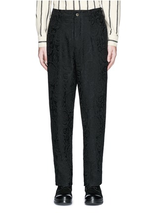 Uma Wang  - 'Osaka' floral jacquard cotton-linen-silk curved pants