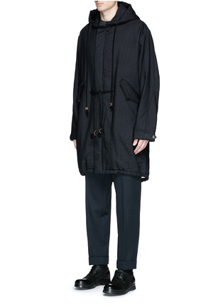 Uma Wang  - 'Paul' chevron stripe wool-ramie fishtail parka