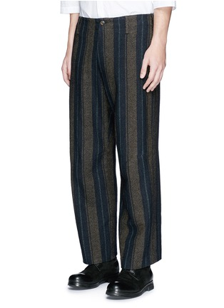 Front View - Click To Enlarge - Uma Wang  - 'Cargo' relaxed fit stripe wool-linen pants