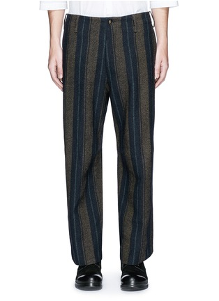 Main View - Click To Enlarge - Uma Wang  - 'Cargo' relaxed fit stripe wool-linen pants
