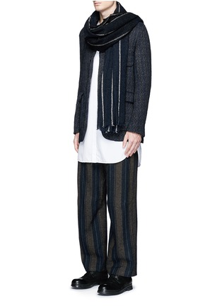 Figure View - Click To Enlarge - Uma Wang  - 'Cargo' relaxed fit stripe wool-linen pants