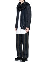 'Cargo' relaxed fit stripe wool-linen pants