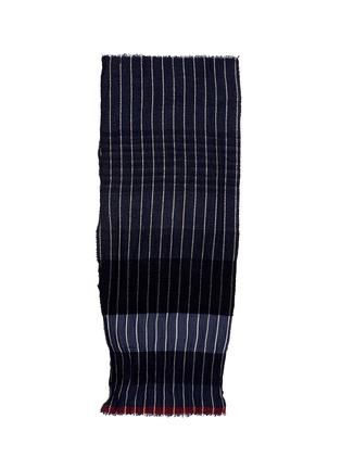 UMA WANG -拼色条纹棉混羊毛围巾