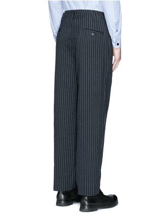 Back View - Click To Enlarge - Uma Wang  - 'Osaka' stripe cotton-wool curved pants