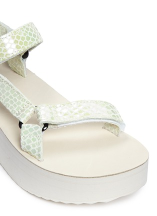 Detail View - Click To Enlarge - Teva - 'Flatform Universal Iridescent' snakeskin embossed leather sandals