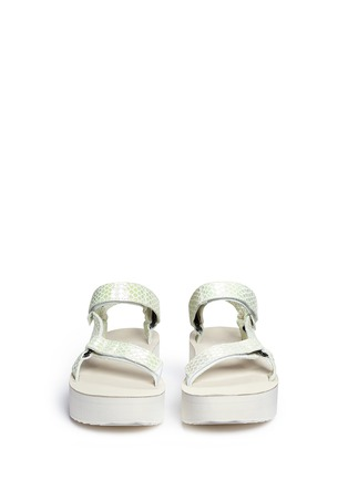 Front View - Click To Enlarge - Teva - 'Flatform Universal Iridescent' snakeskin embossed leather sandals