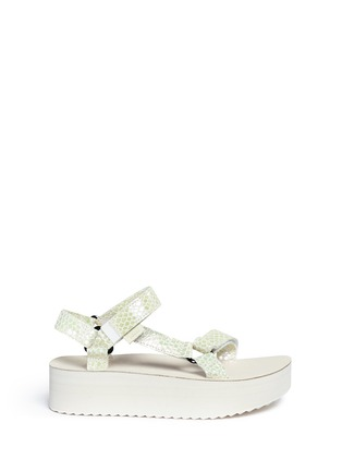 Main View - Click To Enlarge - Teva - 'Flatform Universal Iridescent' snakeskin embossed leather sandals